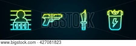 Set Line Suspect Criminal, Pistol Or Gun, Military Knife And Police Electric Shocker. Glowing Neon I