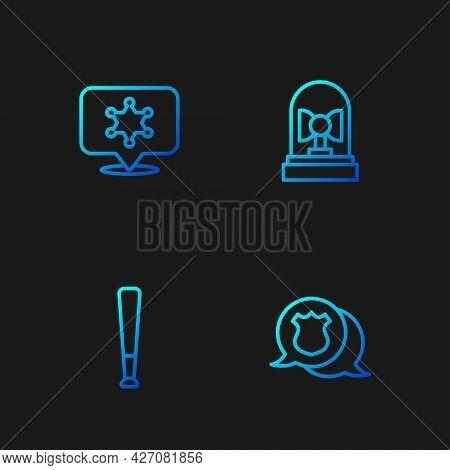 Set Line Police Badge, Baseball Bat, Hexagram Sheriff And Flasher Siren. Gradient Color Icons. Vecto
