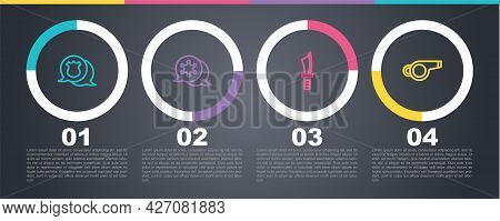 Set Line Police Badge, Hexagram Sheriff, Military Knife And Whistle. Business Infographic Template.