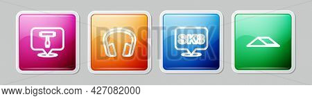 Set Line Skateboard T Tool, Headphones, And Park. Colorful Square Button. Vector