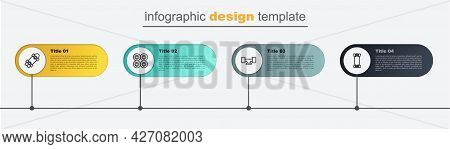Set Line Longboard Or Skateboard, Skateboard Wheel, And . Business Infographic Template. Vector