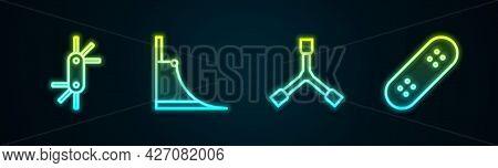 Set Line Tool Allen Keys, Skate Park, Skateboard Y-tool And . Glowing Neon Icon. Vector