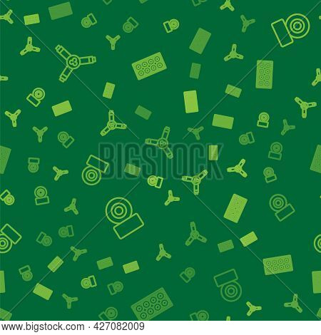 Set Line Skateboard Y-tool, Wheel And On Seamless Pattern. Vector