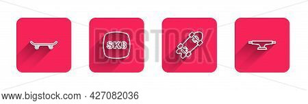 Set Line Skateboard, , Longboard Or Skateboard And Wheel With Long Shadow. Red Square Button. Vector
