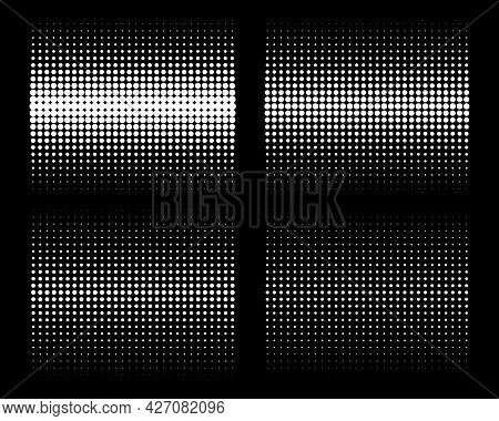 Set Of White Vertical Gradient Halftone Circle Dots Backgrounds. Horizontal Templates Using Halftone