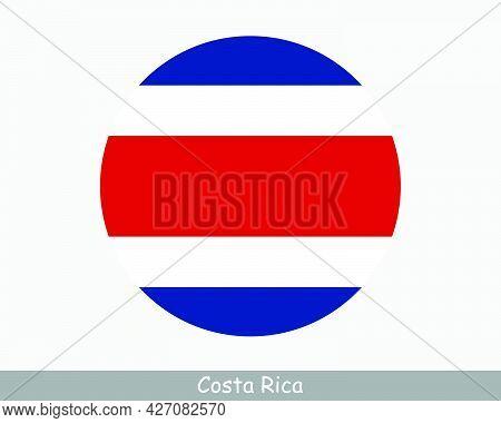 Costa Rica Round Circle Flag. Costa Rican Circular Button Banner Icon. Eps Vector
