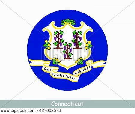 Connecticut Round Circle Flag. Ct Usa State Circular Button Banner Icon. Alabama United States Of Am