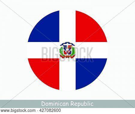 Dominican Republic Round Circle Flag. Dominican Circular Button Banner Icon. Quisqueyan Flag Eps Vec