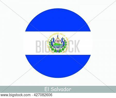 El Salvador Round Circle Flag. Salvadorian Circular Button Banner Icon. Salvadoran Salvadorean Guana