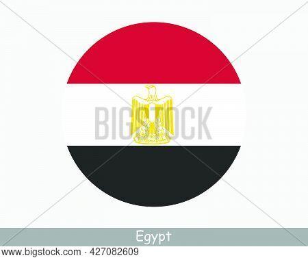 Egypt Round Circle Flag. Egyptian Circular Button Banner Icon. Eps Vector
