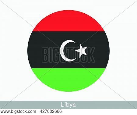 Libya Round Circle Flag. Libyan Circular Button Banner Icon. Eps Vector