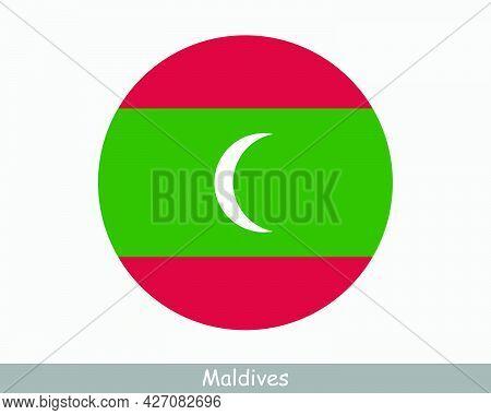 Maldives Round Circle Flag. Maldivian Circular Button Banner Icon. Eps Vector