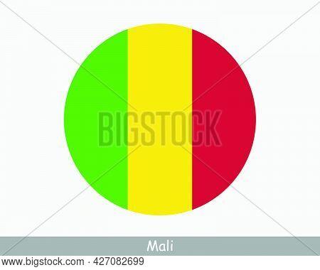 Mali Round Circle Flag. Malian Circular Button Banner Icon. Eps Vector