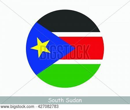 South Sudan Round Circle Flag. South Sudanese Circular Button Banner Icon. Eps Vector