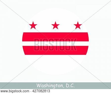 Washington Dc Round Circle Flag. District Of Columbia Usa Capital City Circular Button Banner Icon.
