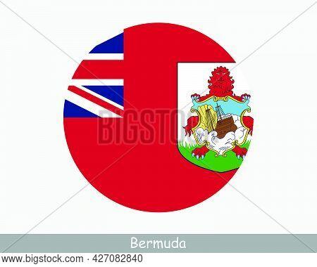 Bermuda Round Circle Flag. Bermudian Circular Button Banner Icon. Bermuda British Overseas Territory