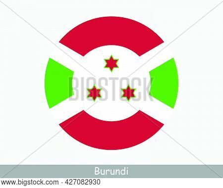 Burundi Round Circle Flag. Burundian Circular Button Banner Icon. Eps Vector