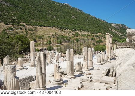 Street With Columns In The Ancient Greek City Ephesus Or Efes On The Coast Of Ionia In Izmir Provinc