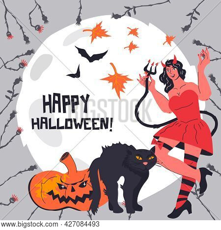 Halloween Card Or Poster, Party Invitation Template With Devil Girl And Black Cat Characters, Vector