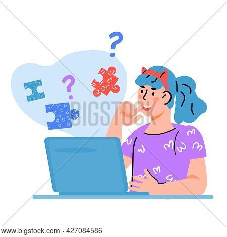 Child Studying Online At Home, Looking For Answers To Question On Internet. Distance Learning And Ho