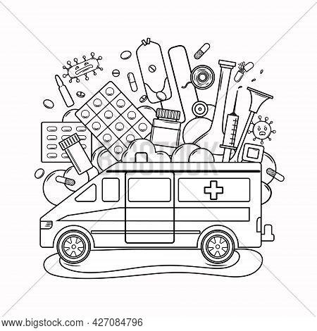 Medical Coloring Book For Adults And Children. Ambulance, Medicines, Viruses. Vector Illustration.