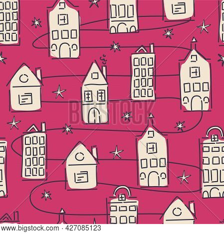Abstract Houses Seamless Pattern. Fashionable Textile And Interior Decor. Vector Hand-drawn Backgrou