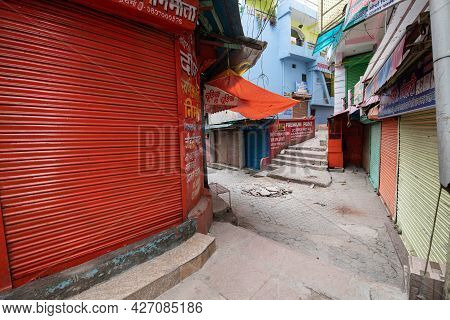 Pithoragarh, India, May, 2021 : Market Is Closed As Lockdown Is Imposed During Second Wave Of Covid-