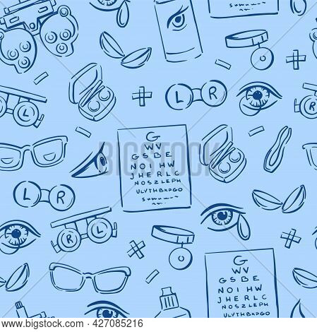 Various Elements Of Optometry, Lenses, Eyes, Glasses On A Blue Background Seamless Pattern. Drawn. D