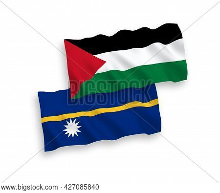 National Fabric Wave Flags Of Republic Of Nauru And Palestine Isolated On White Background. 1 To 2 P