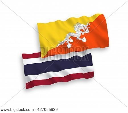 National Fabric Wave Flags Of Kingdom Of Bhutan And Thailand Isolated On White Background. 1 To 2 Pr