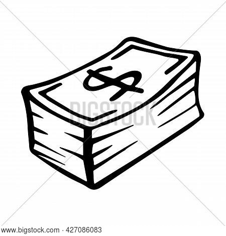 A Big Wad Of Cash. Money Or Dollar Bill Icon In Doodle Style. Hand Drawn Black Logo Of Cash Isolated