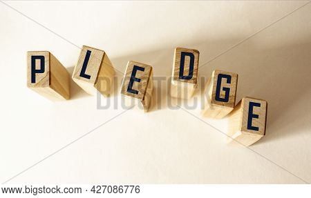 Pledge Word Written On Wooden Blocks And White Background