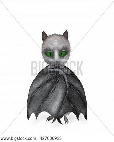 Cute Fantasy Shy Bat Posing. Halloween Decoration. Isolated Digital Illustraion. Print Quality.
