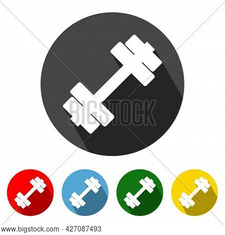 Fitness Flat Style Icon With Long Shadow. Fitness Icon Vector Illustration Design Element With Four