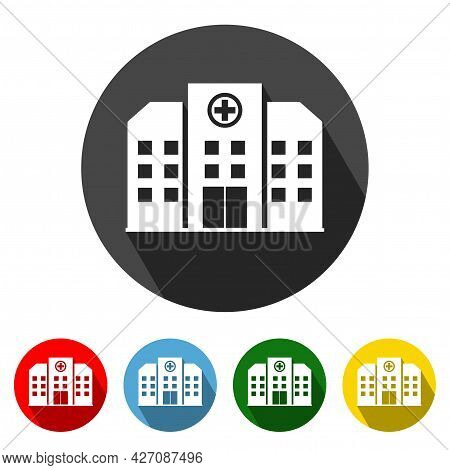 Hospital Building Flat Style Icon With Long Shadow. Hospital Building Icon Vector Illustration Desig