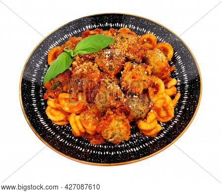 Beef And Pork Meatballs Al Forno With Trulli Pasta In Tomato Sauce Meal Isolated On A White Backgrou