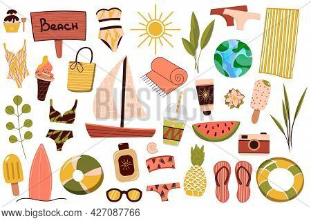 A Set Of Summer Things For The Beach. Travel To A Sunny Country. Summer Rest. Vector Illustration