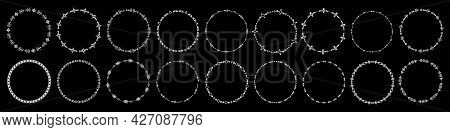 Set Of Round Frames And Monograms. Collection Decorative Circle Borders. Abstract Doodle. Rounds Scr