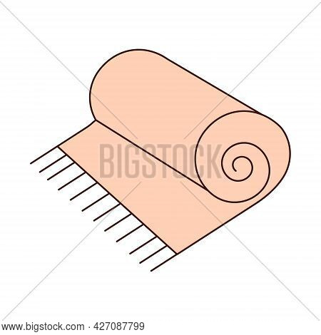 Pink Plaid Rolled Up With Fringe. Bedspread For The Beach, Picnic. Vector Illustration In Flat Style
