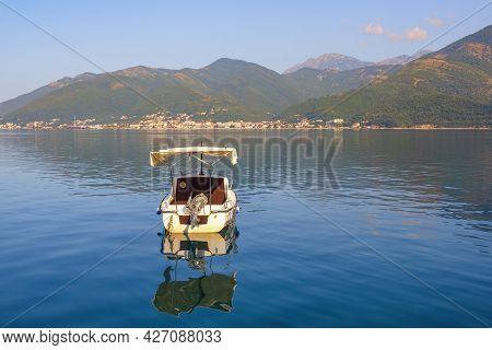 Summer Mediterranean Landscape. Montenegro, Adriatic Sea. View Of Kotor Bay Near Tivat City. Fishing