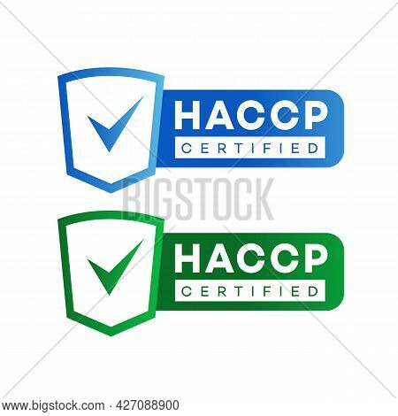 Haccp - Hazard Analysis Critical Control Points Certified Sign Set Color Flat Style Isolated On Whit
