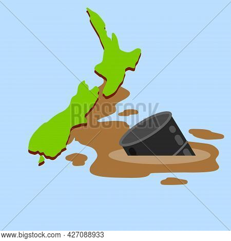 New Zealand. South Island In Polynesia.. Blue Sea And Ocean. Oil Spill. Environmental Problem. Barre