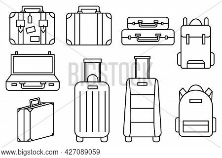 Luggage Icons Set And Collection. Backpack, Handbag, Suitcase, Briefcase, Messenger Bag, Trolley, Tr