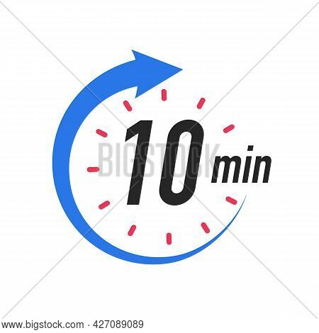 Icon 10 Minutes Timer Color Style Isolated On White Background. Clock, Stopwatch, Cooking Time Label
