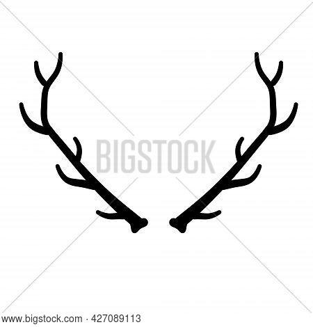 Horn Of Deer Or Elk. Hunting Trophy. Black And White Silhouette Of Antler.