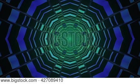 Sci Fi Gateway Geometric Design 4k Uhd 3d Illustration