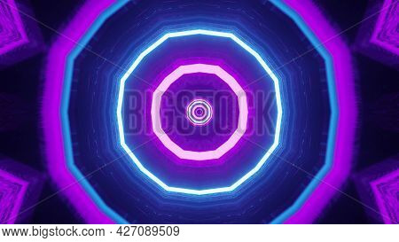 Octagonal Neon Ornament 4k Uhd 3d Illustration