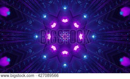 Neon Geometric Ornament In Dark Tunnel 4k Uhd 3d Illustration