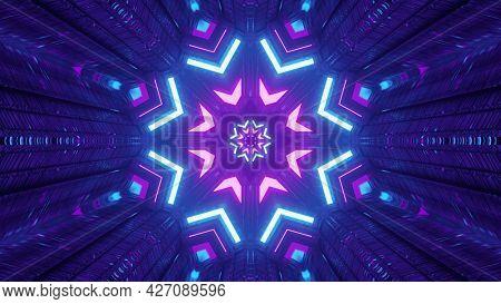 Geometric Neon Ornament In Dark Tunnel 4k Uhd 3d Illustration