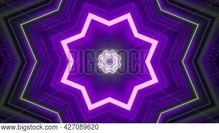 Vivid Neon Illumination With Star Shapes 4k Uhd 3d Illustration